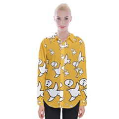 Whistling Sparrow - On Yellow - By Larenard Womens Long Sleeve Shirt
