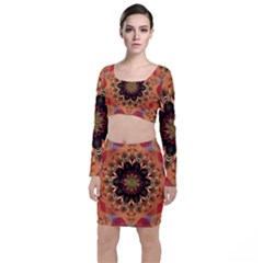 Abstract Kaleidoscope Design Top And Skirt Sets