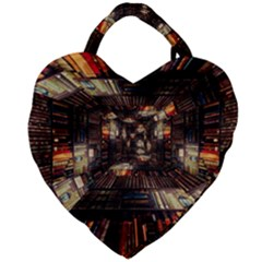 Library Tunnel Books Stacks Giant Heart Shaped Tote
