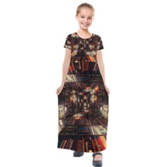 Library Tunnel Books Stacks Kids  Short Sleeve Maxi Dress