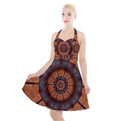 Abstract Kaleidoscope Texture Halter Party Swing Dress