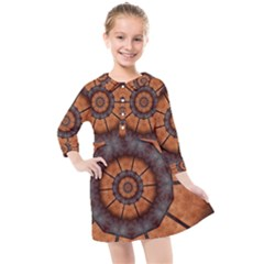Abstract Kaleidoscope Texture Kids  Quarter Sleeve Shirt Dress