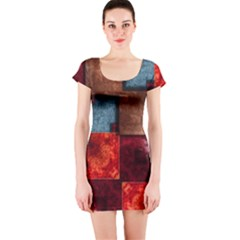Abstract Depth Structure 3d Short Sleeve Bodycon Dress
