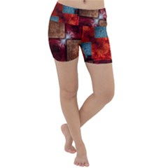 Abstract Depth Structure 3d Lightweight Velour Yoga Shorts