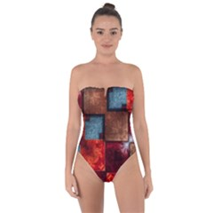 Abstract Depth Structure 3d Tie Back One Piece Swimsuit