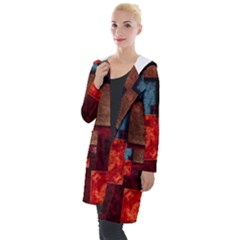 Abstract Depth Structure 3d Hooded Pocket Cardigan