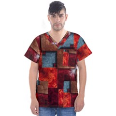 Abstract Depth Structure 3d Men s V Neck Scrub Top