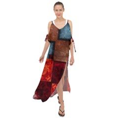 Abstract Depth Structure 3d Maxi Chiffon Cover Up Dress