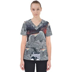 Mountains Scene Landscape Women s V Neck Scrub Top