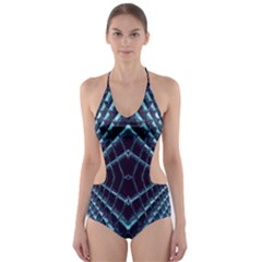 Sci Fi Texture Futuristic Design Cut Out One Piece Swimsuit