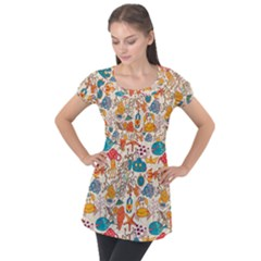 Funny Sea Pattern Puff Sleeve Tunic Top by goljakoff