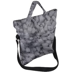 Soft Gray Stone Pattern Texture Design Fold Over Handle Tote Bag by dflcprintsclothing
