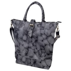 Soft Gray Stone Pattern Texture Design Buckle Top Tote Bag by dflcprintsclothing