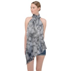 Soft Gray Stone Pattern Texture Design Halter Asymmetric Satin Top by dflcprintsclothing
