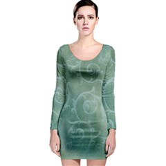 Background Green Structure Texture Long Sleeve Bodycon Dress
