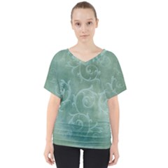 Background Green Structure Texture V Neck Dolman Drape Top