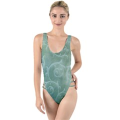 Background Green Structure Texture High Leg Strappy Swimsuit