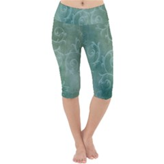 Background Green Structure Texture Lightweight Velour Cropped Yoga Leggings