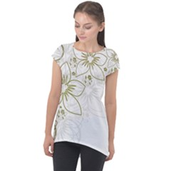 Flowers Background Leaf Leaves Cap Sleeve High Low Top by Mariart