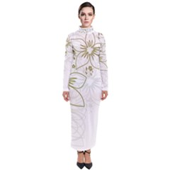 Flowers Background Leaf Leaves Turtleneck Maxi Dress by Mariart