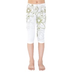 Flowers Background Leaf Leaves Kids  Capri Leggings  by Mariart