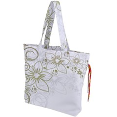 Flowers Background Leaf Leaves Drawstring Tote Bag by Mariart