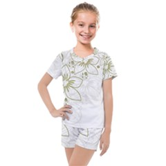 Flowers Background Leaf Leaves Kids  Mesh Tee And Shorts Set by Mariart