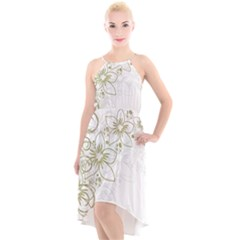 Flowers Background Leaf Leaves High Low Halter Chiffon Dress