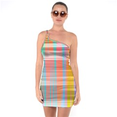 Abstract Color One Soulder Bodycon Dress