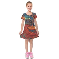 Abstract Art Pattern Kids  Short Sleeve Velvet Dress