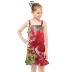 Abstract Stain Red Seamless Kids  Overall Dress