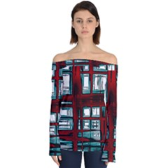Abstract Color Background Form Off Shoulder Long Sleeve Top by Desi8477