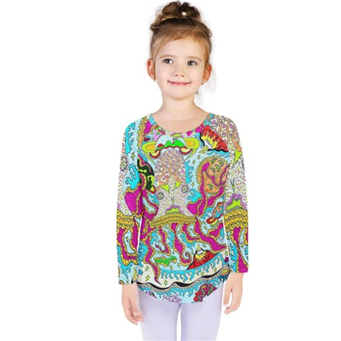 Supersonic Octopus Kids  Long Sleeve Tee by chellerayartisans