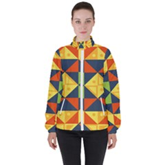 Background Geometric Color Plaid High Neck Windbreaker (women)
