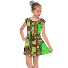 Blocks Cubes Green Kids  Cap Sleeve Dress by Desi8477
