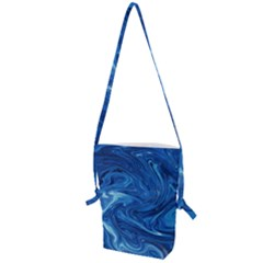Blue Pattern Texture Art Folding Shoulder Bag
