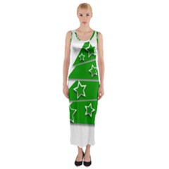 Christmas Green Tree Background Fitted Maxi Dress by Desi8477