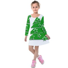 Christmas Green Tree Background Kids  Long Sleeve Velvet Dress by Desi8477