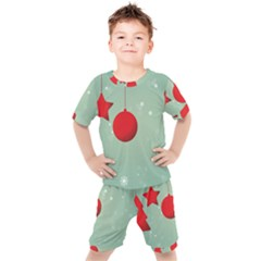 Christmas Red Star Kids  Tee And Shorts Set by Desi8477