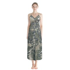 Grunge Camo Print Design Button Up Chiffon Maxi Dress by dflcprintsclothing