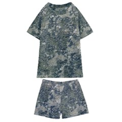 Grunge Camo Print Design Kids  Swim Tee And Shorts Set by dflcprintsclothing