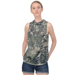 Grunge Camo Print Design High Neck Satin Top by dflcprintsclothing