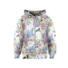 Spring Flowers Pattern Kids  Zipper Hoodie by goljakoff