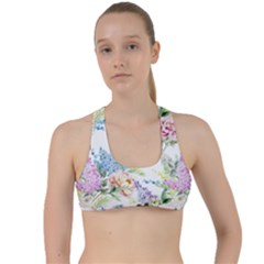 Spring Flowers Pattern Criss Cross Racerback Sports Bra