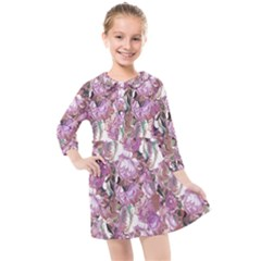 Romantic Pink Flowers Kids  Quarter Sleeve Shirt Dress
