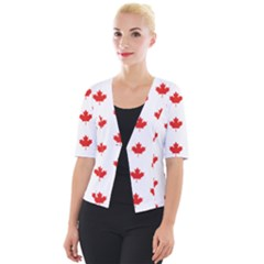 Maple Leaf Canada Emblem Country Cropped Button Cardigan