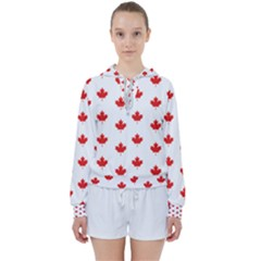Maple Leaf Canada Emblem Country Women s Tie Up Sweat by Mariart