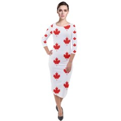 Maple Leaf Canada Emblem Country Quarter Sleeve Midi Velour Bodycon Dress by Mariart