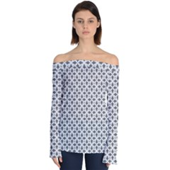 Black White Background Pattern Off Shoulder Long Sleeve Top by AnjaniArt