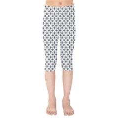 Black White Background Pattern Kids  Capri Leggings  by AnjaniArt